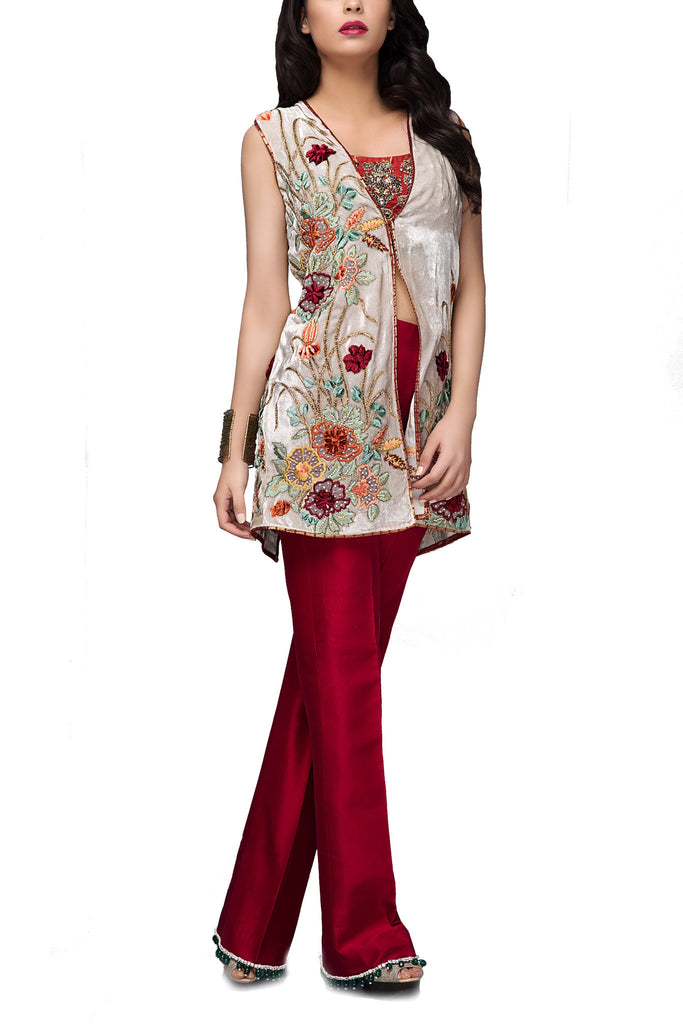 Mahgul - White & Red Hand Embellished Velvet Shirt With Pants & Plain Inner