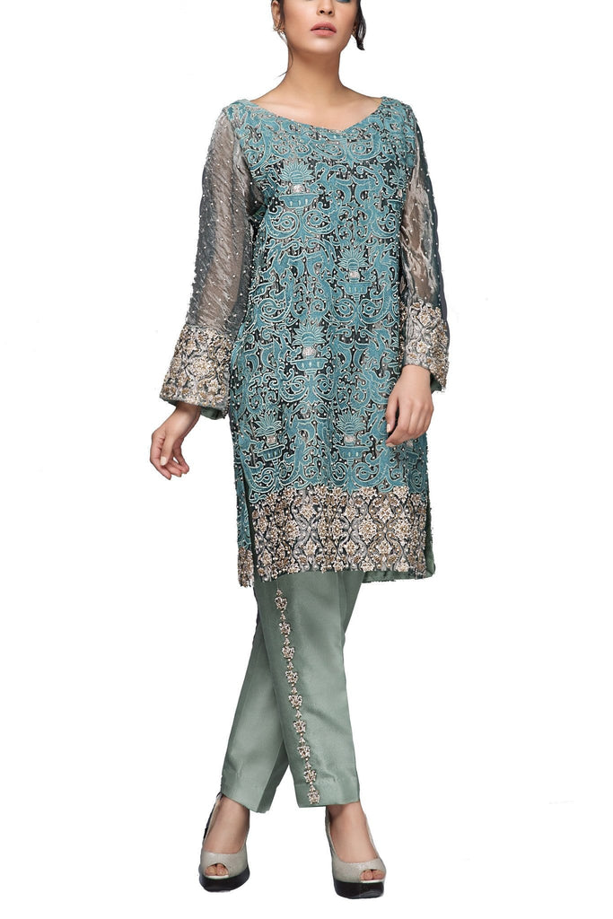 Mahgul - Grey Indian Tissue Embroidered Shirt With Raw Silk Pants