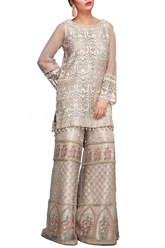 Mahgul - White Fully Embroidered Net Shirt With Plain Pants