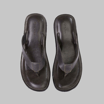 Novado - Anthracite Milan Flip Flop Thong Leather Slipper