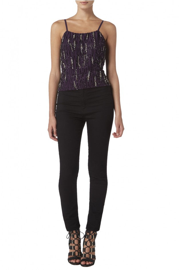 Raishma - Aubergine Sequin Crop Top