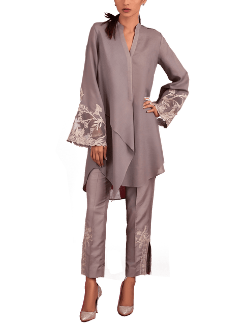 Tena Durrani - Audrey Grey Two Piece Crepe Suit