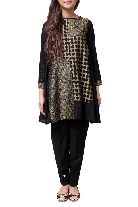 Generation - Black Patched Jacquard Kameez