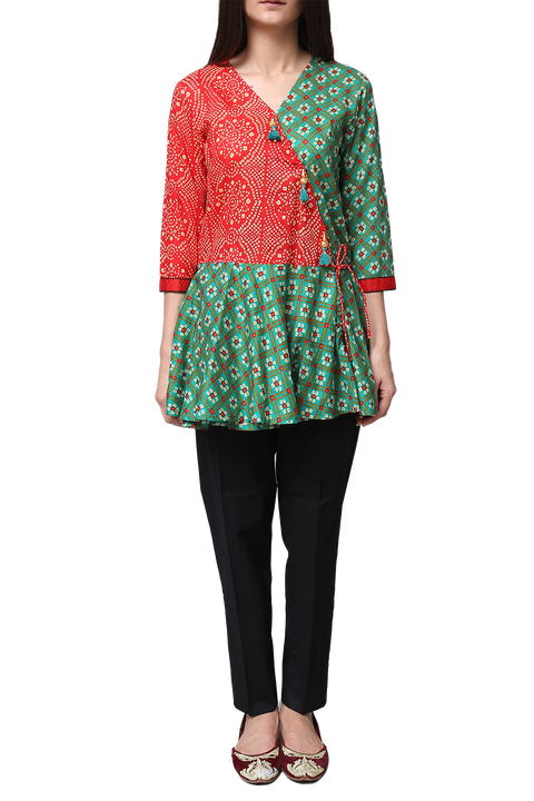 Generation - Red Voile Bandhni Overlap Tunic
