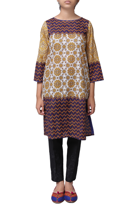 Generation - Offwhite Voile Egyption Classic Fit Kameez