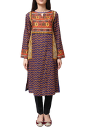 Generation - Blue Voile Egyptian Boat Neck Kameez