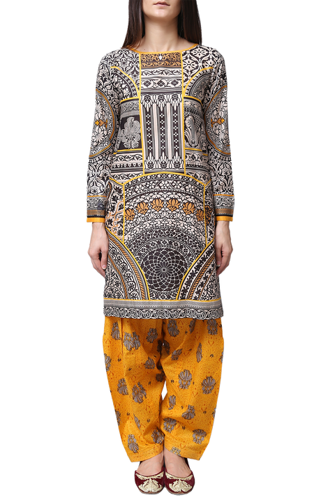 Generation - Yellow Voile Egyptian Kameez With Shalwar