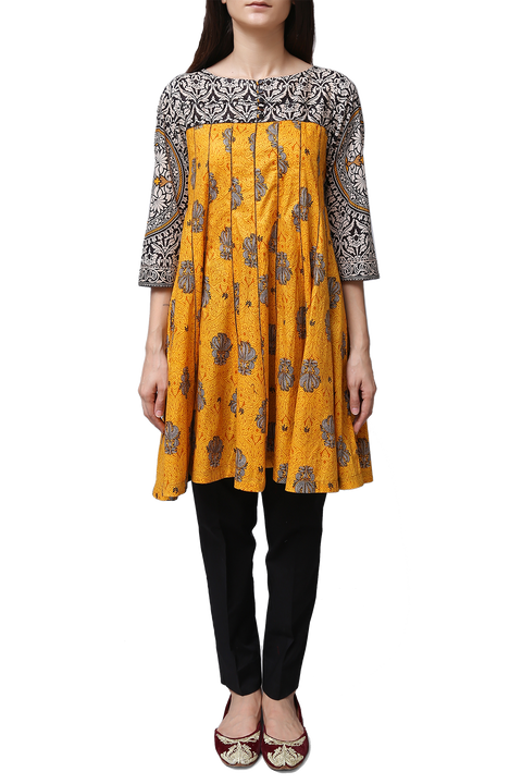 Generation - Yellow Voile Printed Flare Kameez