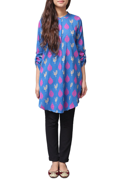Generation - Blue Loose Fitting Cotton Kameez