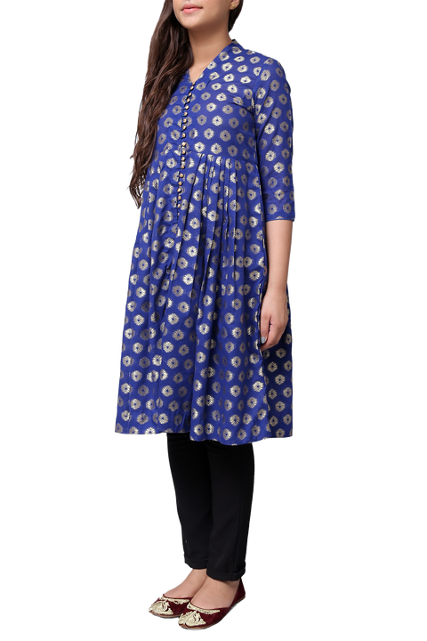 Generation - Blue Jacquard Button Down Dress