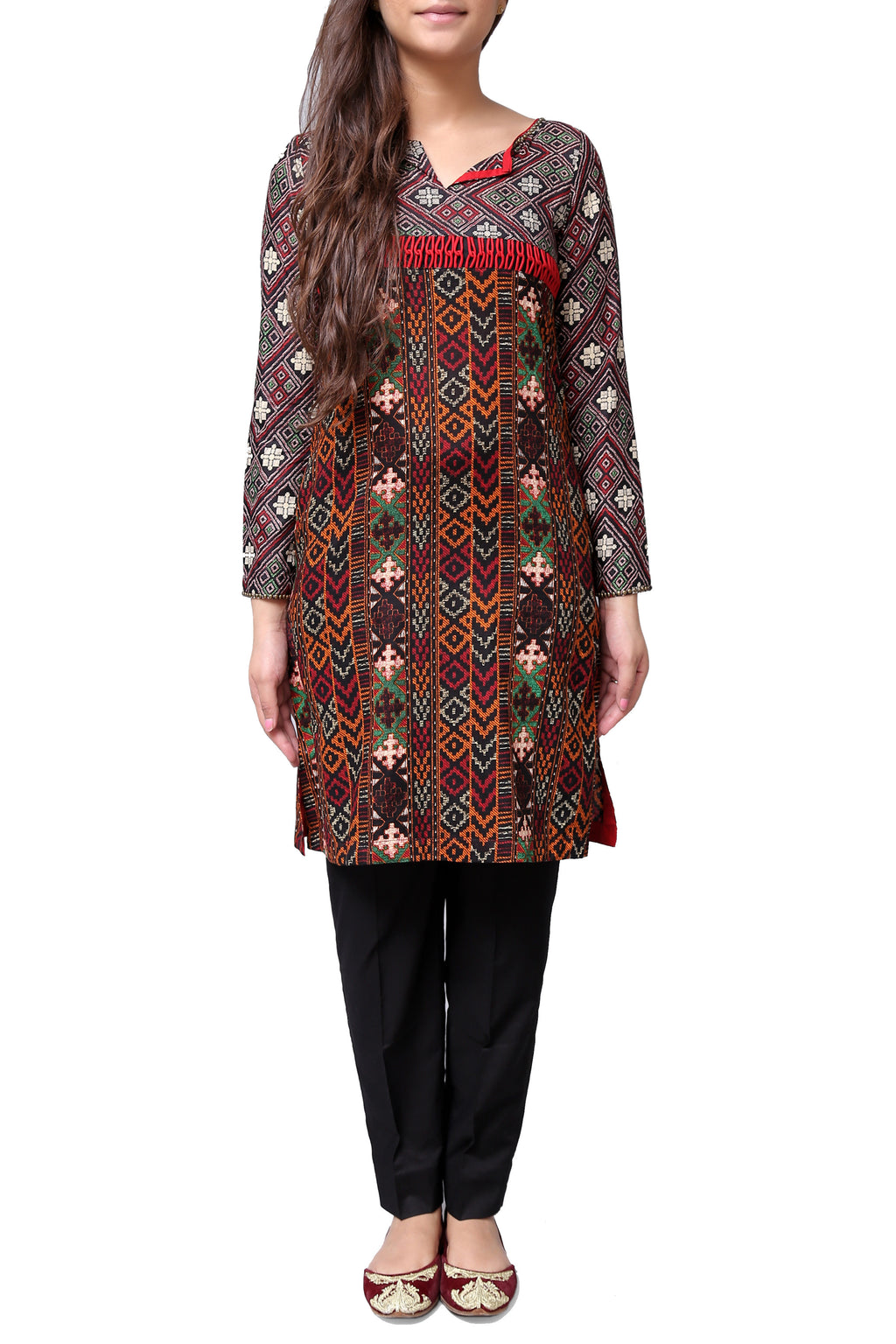 Generation - Black Printed Fitted Voile Kameez