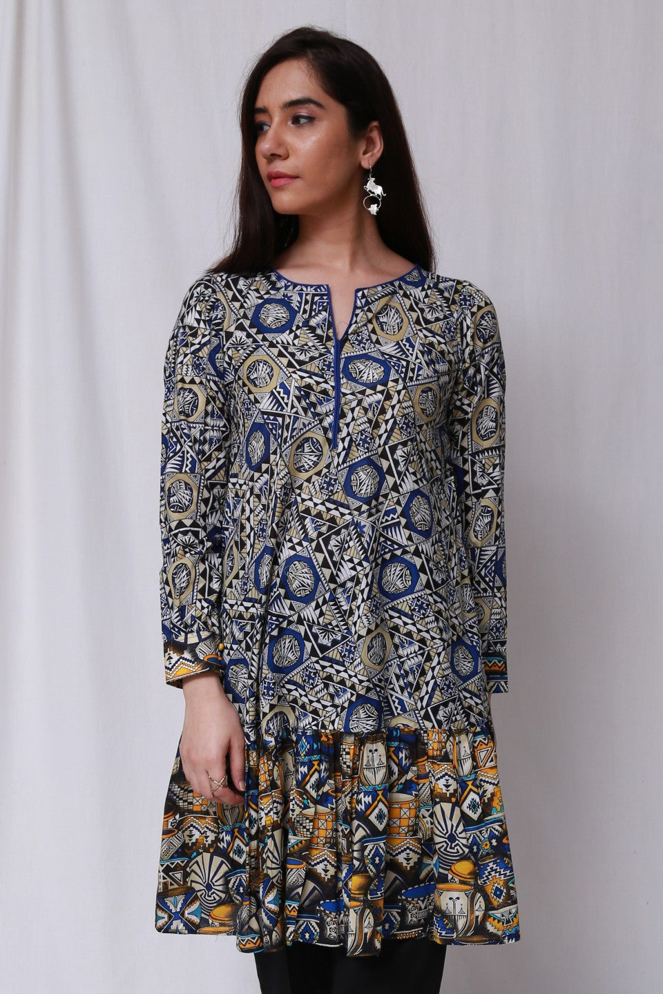 Generation -Blue Novajo Frilled Tunic