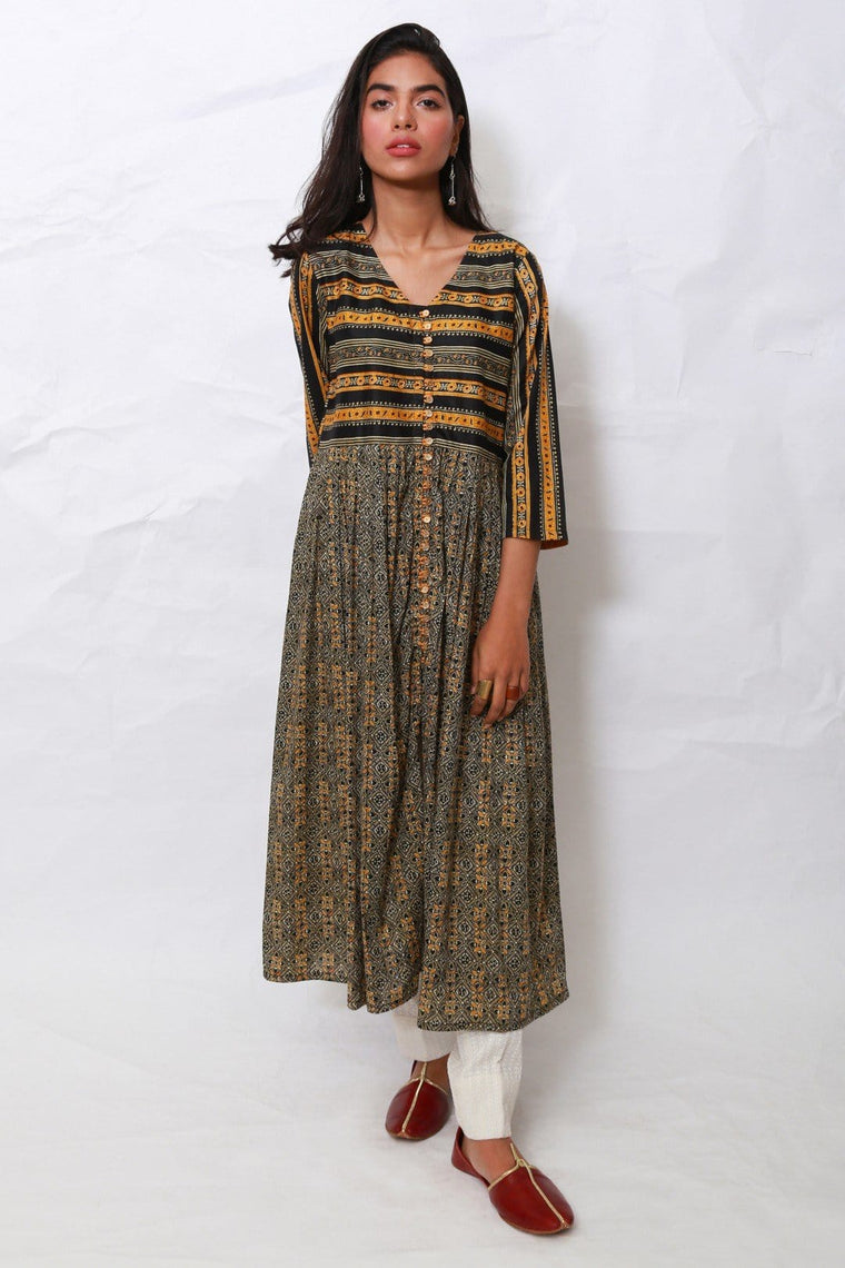 Generation - Black Chanderi Block Dress