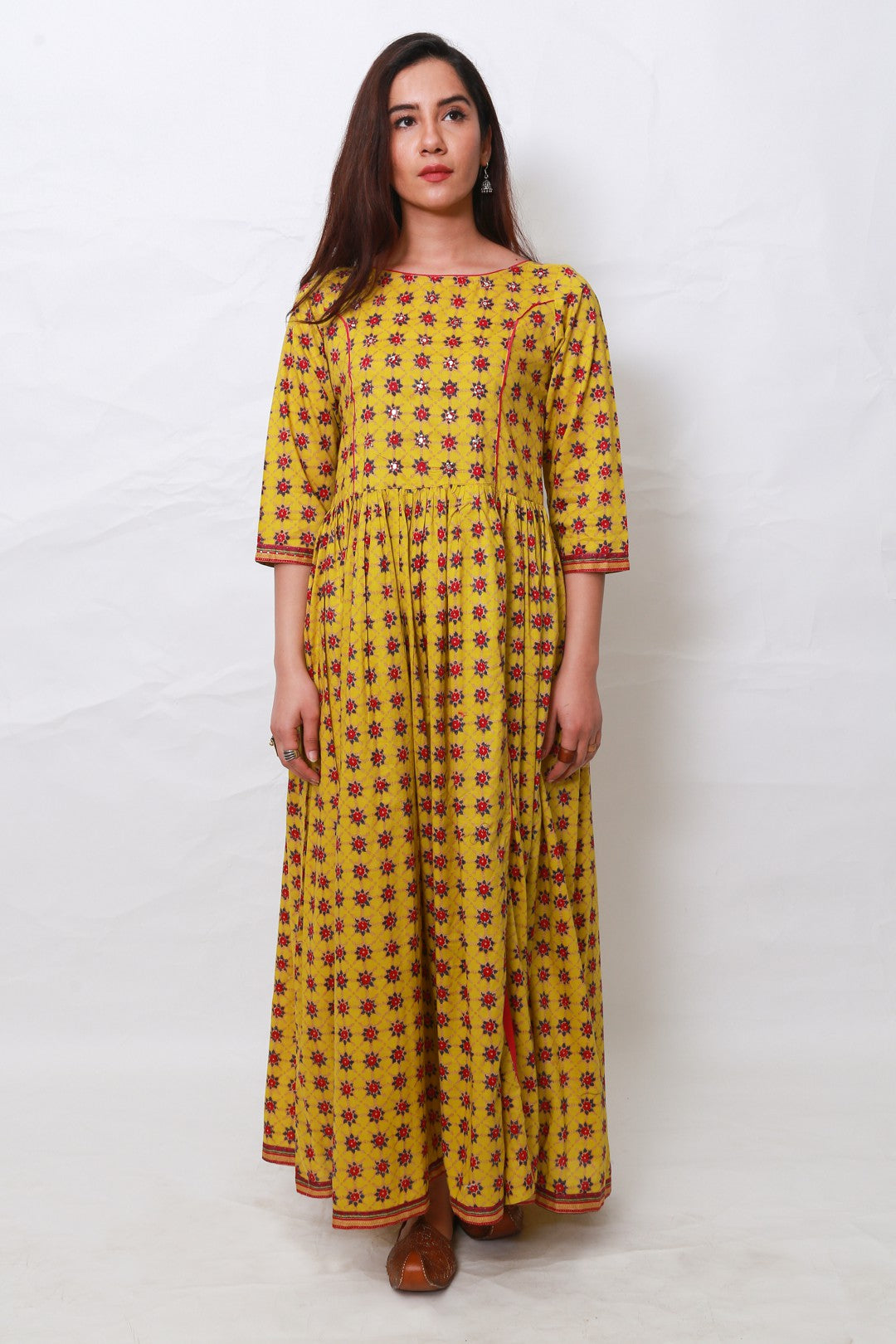 Generation - Yellow Chanderi Block Dress