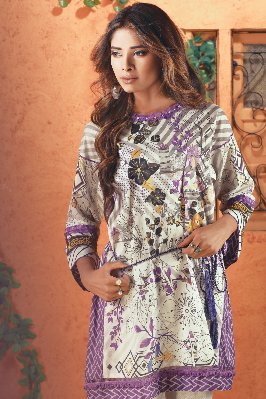 Bonanza Satrangi - Gray Purple Twist - 1 Pc