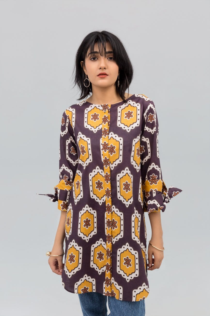 Yesonline.Pk - Brown Colour Honey comb Fusion Printed Shirt In 100% Cotton