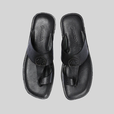 Novado - Black  Kolhapuri Leather Slipper For Men
