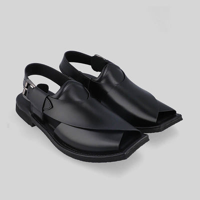 Novado - Black Masti Khan Leather Peshawari Chappal For Men