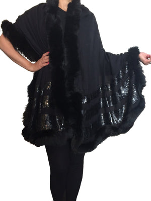 Amishi - Black & Black Luxurious Cashmere & Fur Trimmed Scarf