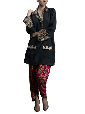 Tena Durrani - Black & Red Belle Two Piece Khaadi Silk Suit