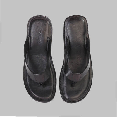 Novado - Black Milan Flip Flop Thong Leather Slipper