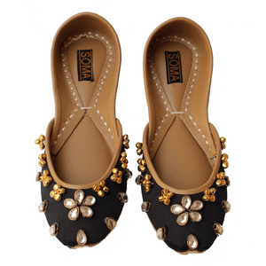 Soma - Kundan Pump Black Hand Crafted Footwear