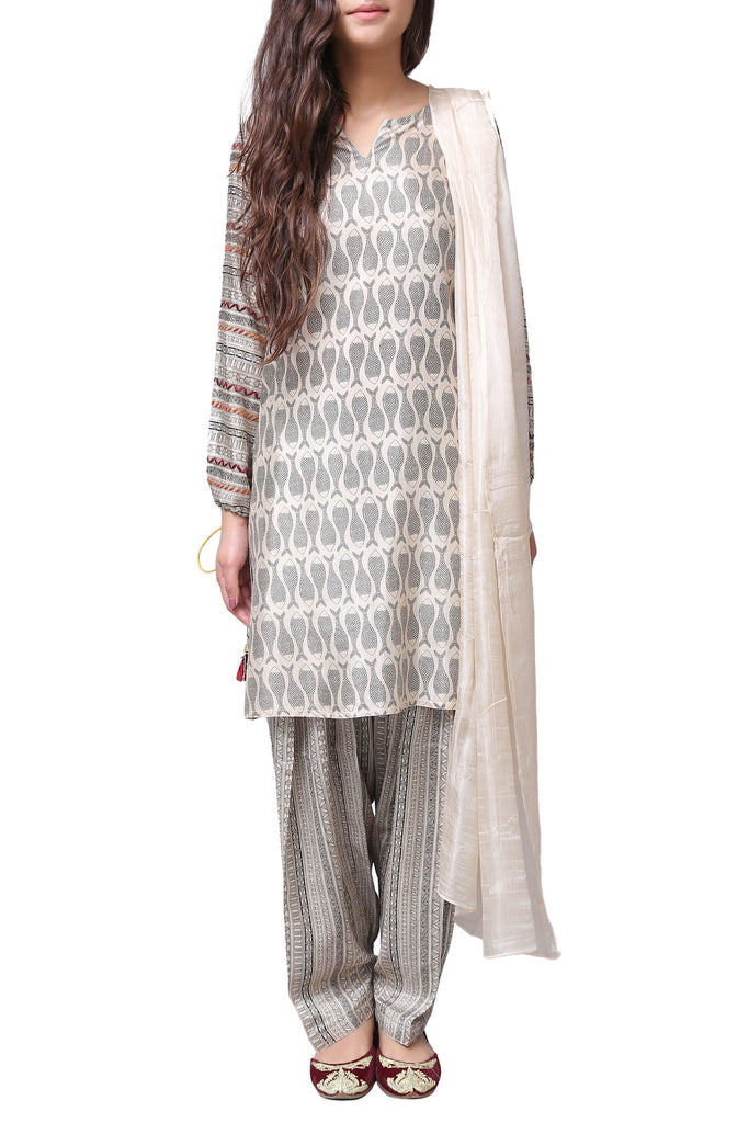 Generation - Off-White Madhubani Drawstring Silk Suit