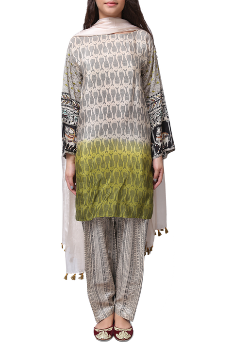 Generation - Off White Silk Madhubani Dip Dyed Suit