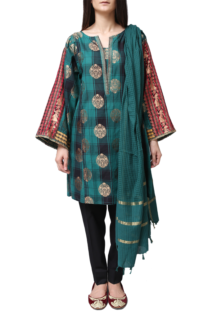 Generation - Green Jacquard Treasure Trove Kameez With Dupatta