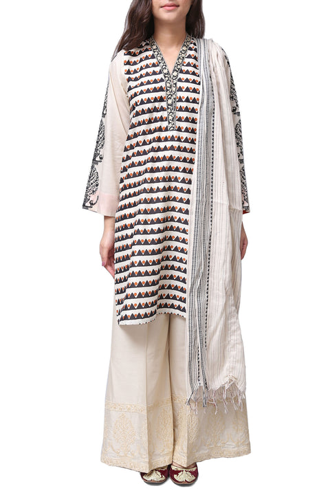 Generation - Off-White Stripy Charbagh V Neck Voile Suit