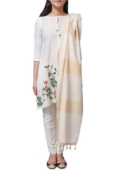 Generation - Off White Gulbagh Tassel Voile Suit