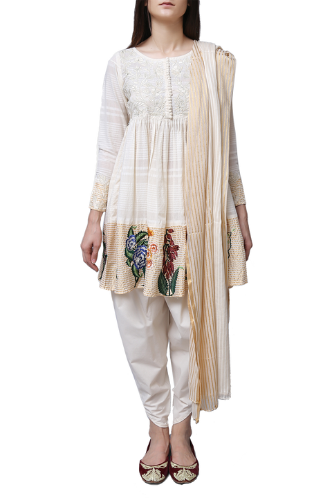 Generation - Off White Cotton Dobby Gulbagh Peplum Suit