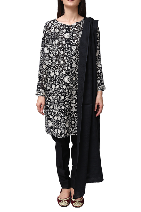 Generation - Black Net Monochrome Embroidered Kameez With Dupatta
