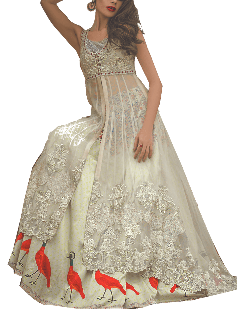 Tena Durrani - White Peruvian Net Shirt With Silk Lehnga