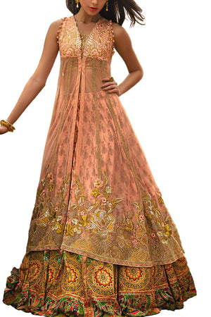 Tena Durrani - Peach Salmon Raven Net Shirt With Silk Lehnga