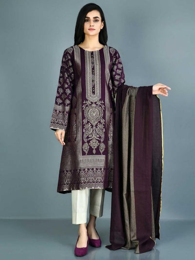 Limelight - Purple Embellished Jacquard Suit - 2 PC - P3431