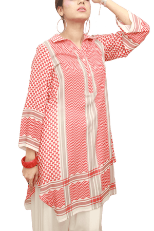 Gulabo - Red & White City Girl Cotton Viscose Lawn Shirt - Clearance Sale