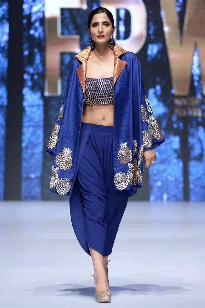 Sanam Chaudhri - OFF THE RUNWAY-  Cobalt Blue Hand Worked 'Count' Jacket & Top With Pants