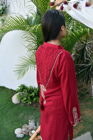 Insam - Red Criss Cross Kurta