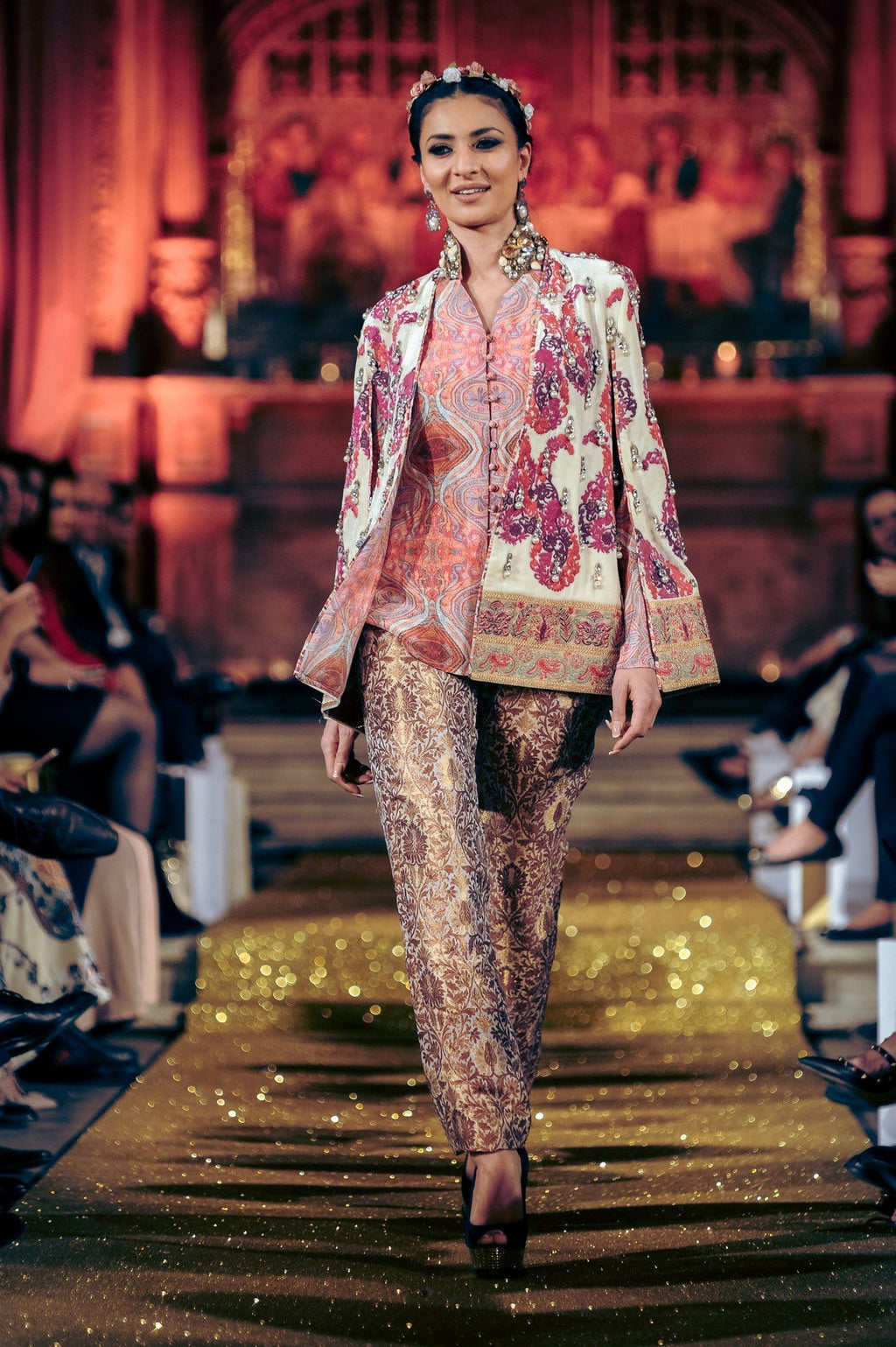 Shamaeel - Velvet Embroidered Cape With Printed Shirt & Pencil Pants