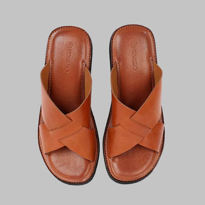 Novado - Caramel Brown Sage Leather Slides Slippers For Men
