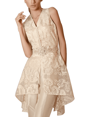 Tena Durrani - Cream Organza Peplum Fashion Forward Screen Printed Two Piece Organza Suit