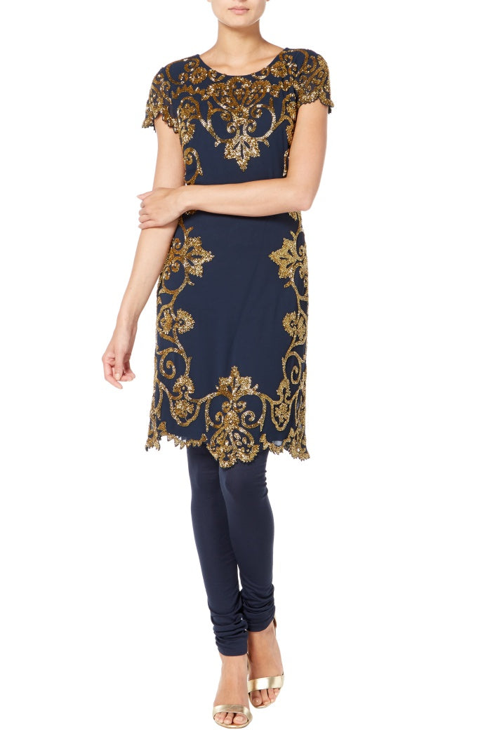 Raishma - Navy And Gold Scallop Suit