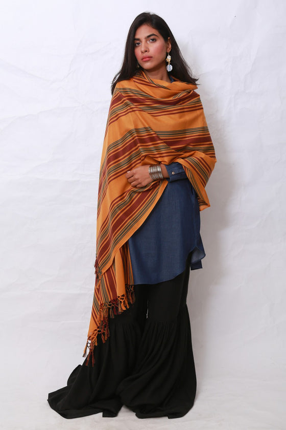 Generation - Golden Ethno Graphic Shawl