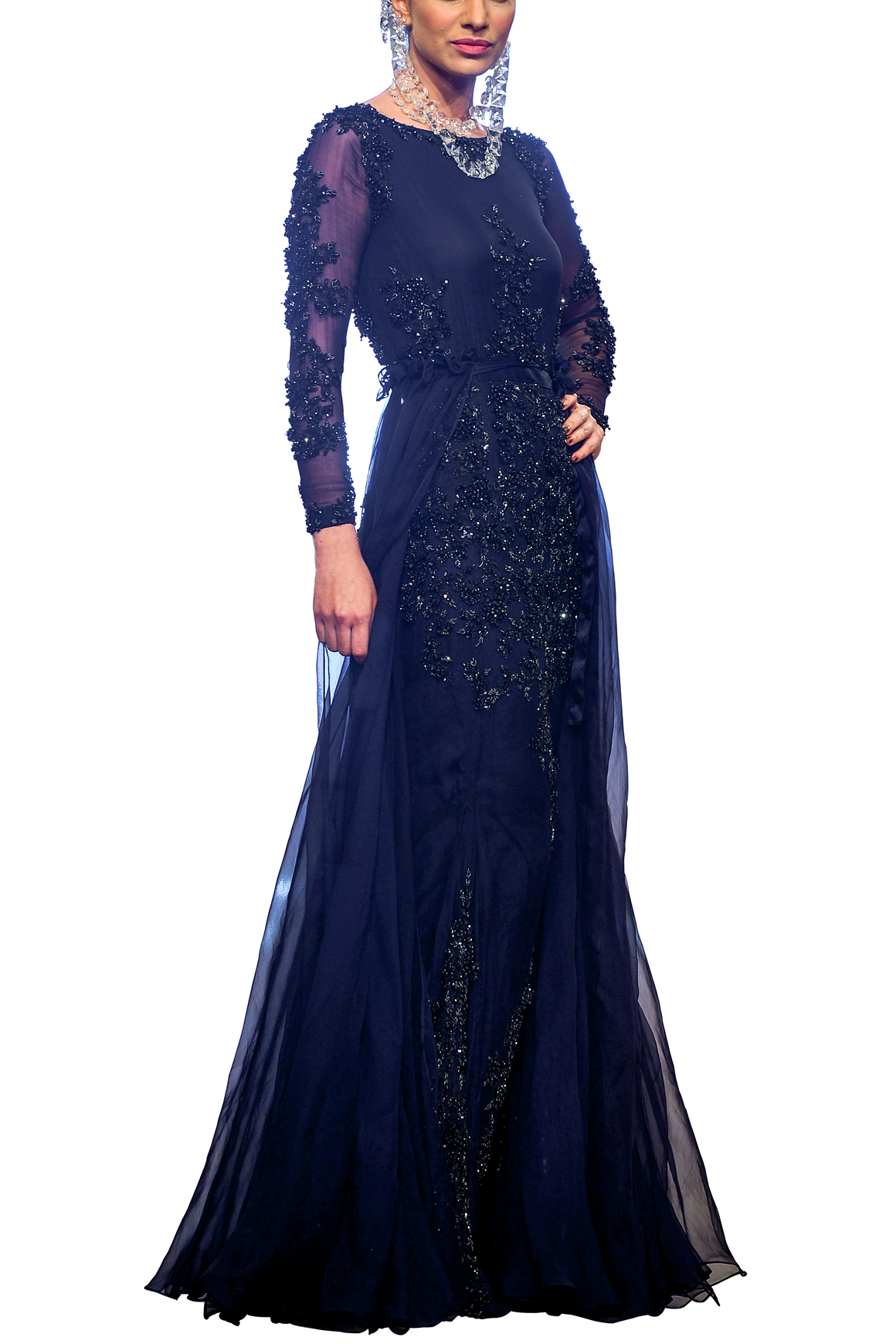 HSY - Black Embellished Floor Length Chiffon Gown