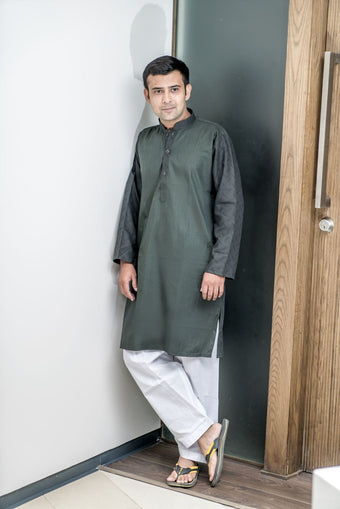 Mens Kurta Olive Green