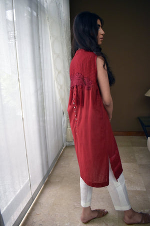 Insam - Blooming Red Kurta