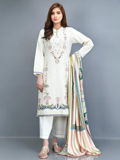 Limelight - Offwhite Embroidered Slub Khaddar Suit - P4195SU