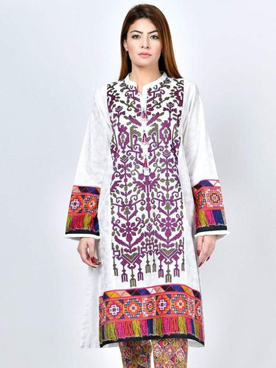Limelight - White Embroidered Lawn Shirt - 1 PC - P2361