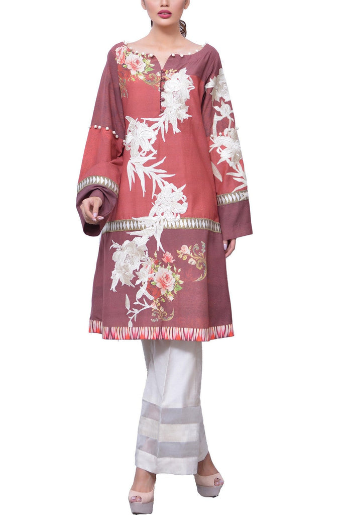 Shamaeel - Printed Silk Embroidery Shirt